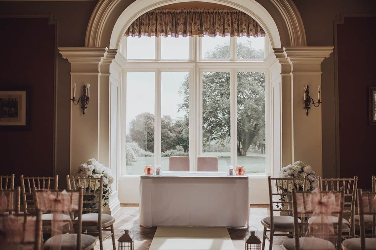 ceremony room at Glewstone court country house wedding photograph