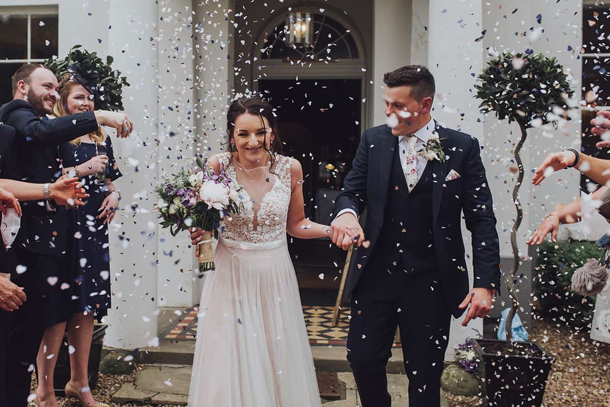 confetti at Glewstone court country house wedding photograph