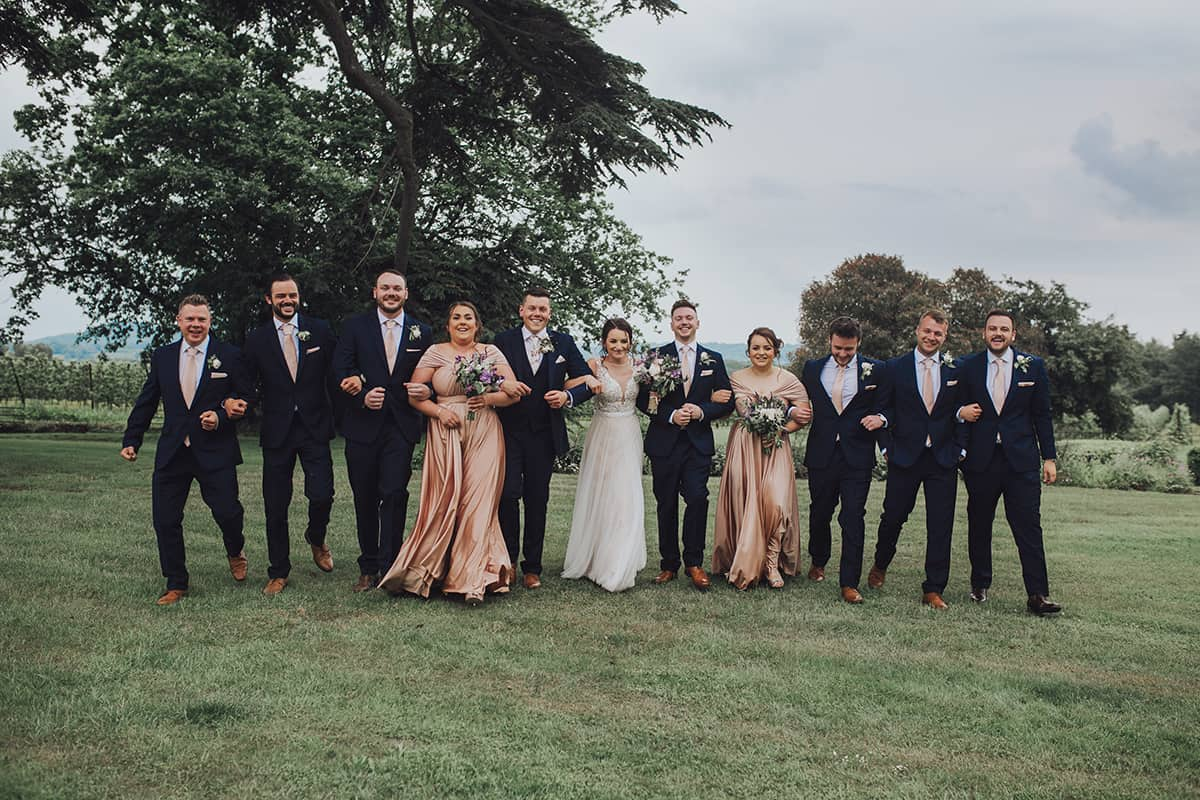 bridal party at Glewstone court country house wedding photograph