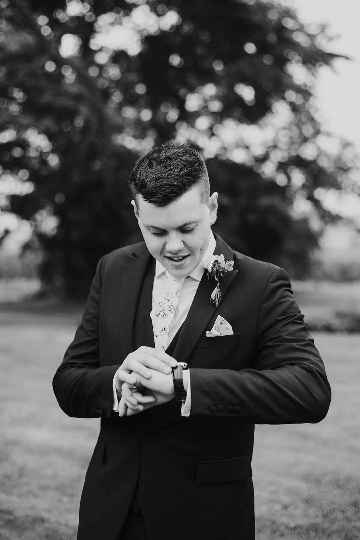 groom at Glewstone court country house wedding photograph
