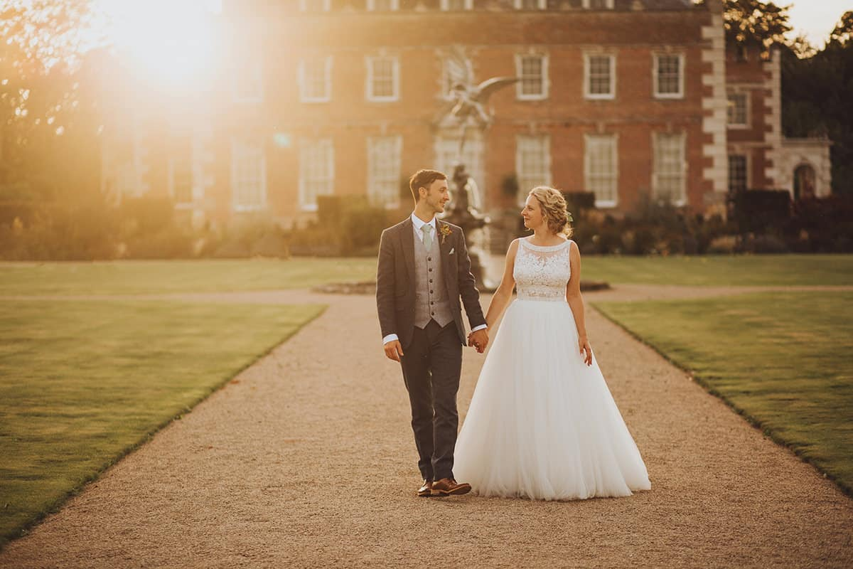 st giles house sunset wedding bride and groom