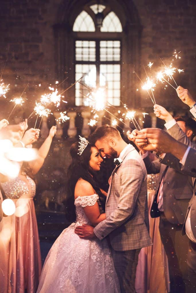 sparkler wedding photography clearwell castle