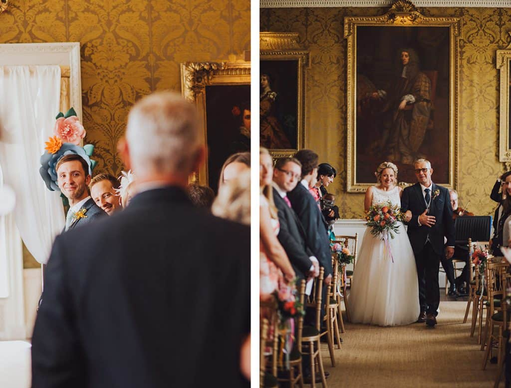 Grooms face as bride walks down the aisle with her father