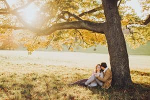 sunset autumn couple engagement