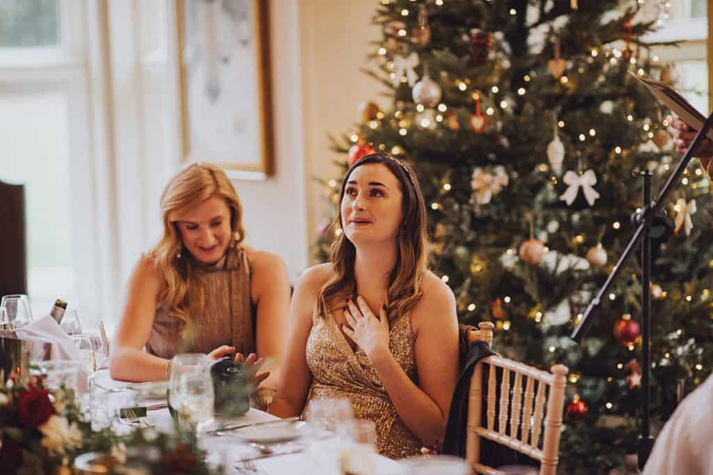 bridesmaid reaction to wedding speech