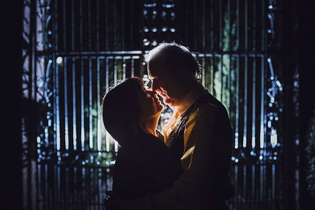 wedding couple at audleys wood hotel at night