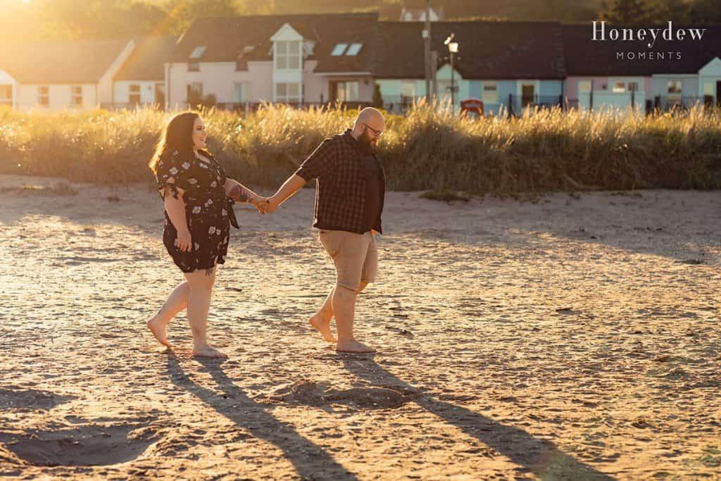 Sunset Llansteffan Beach Engagement