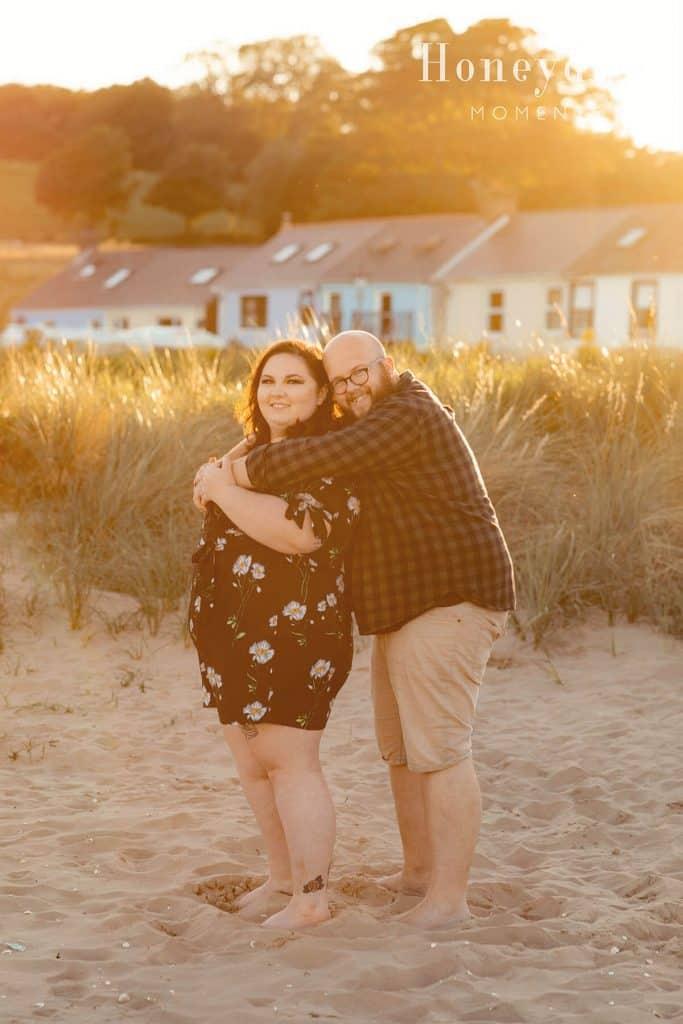 llansteffan beach sunset beach engagement session